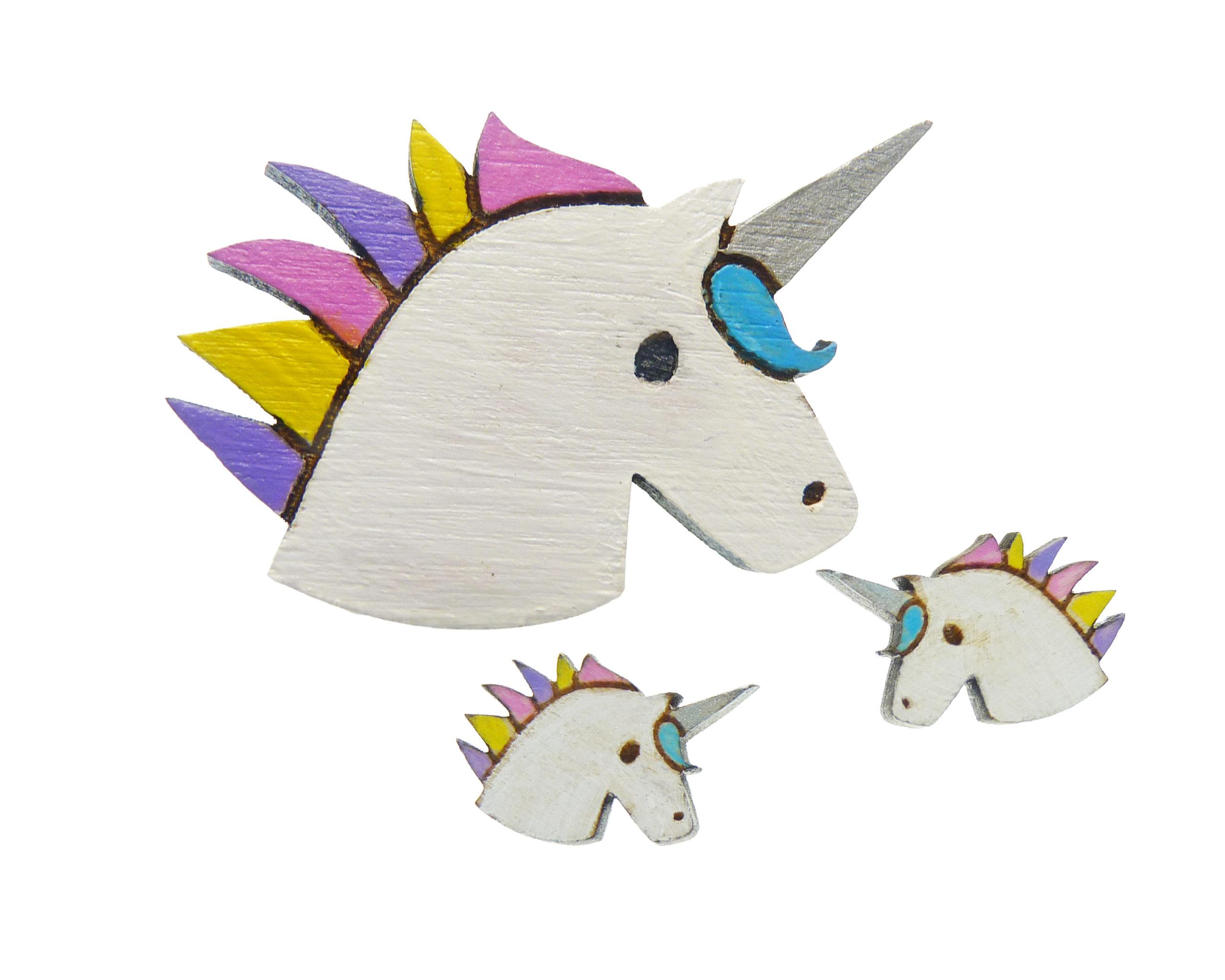 Unicorns Maple Hardwood Earrings and Pin Jewelry Set   Hand Painted