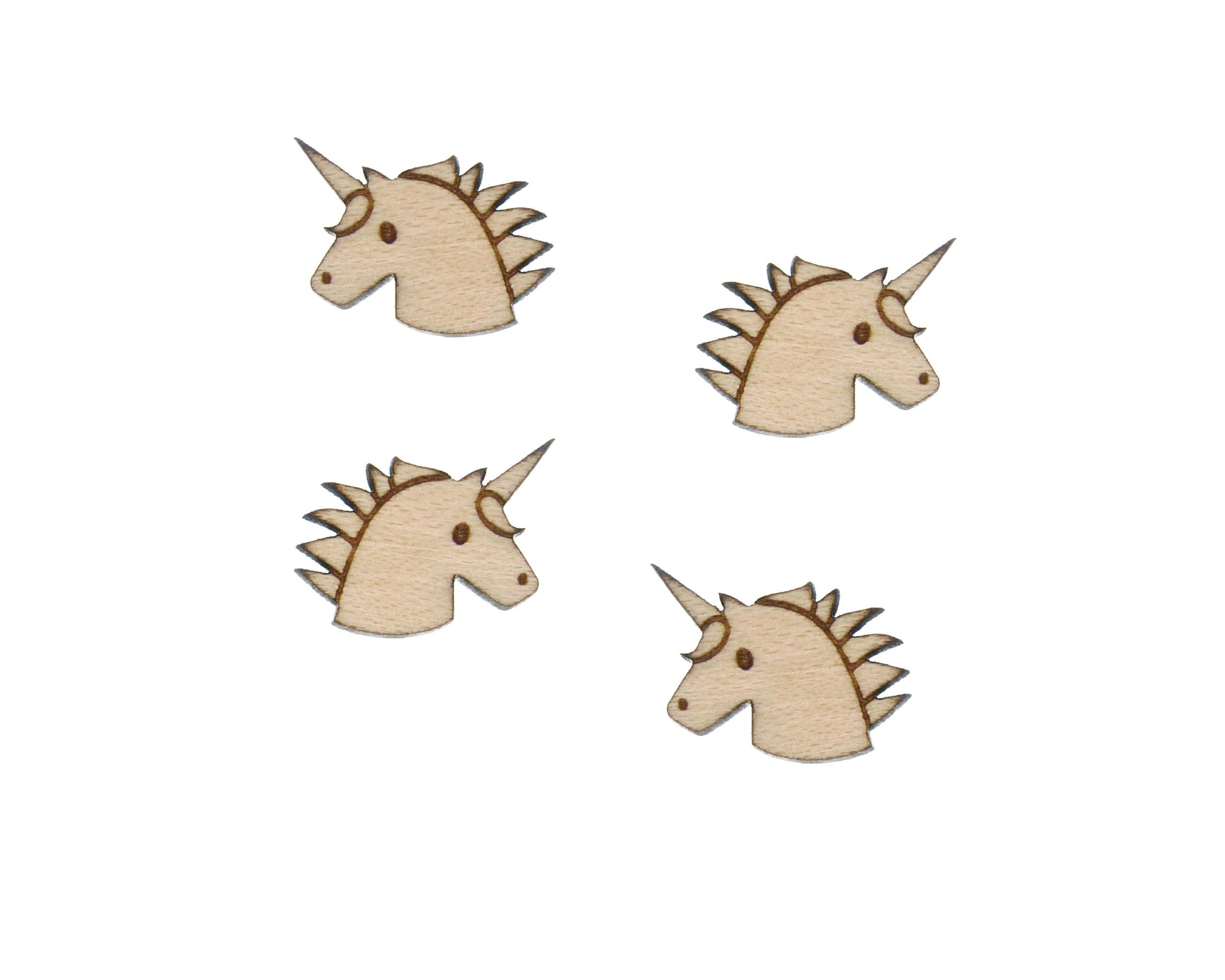 Unicorns Engraved Wood Cabochons
