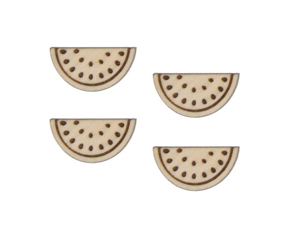 Watermelon Engraved Wood Cabochons