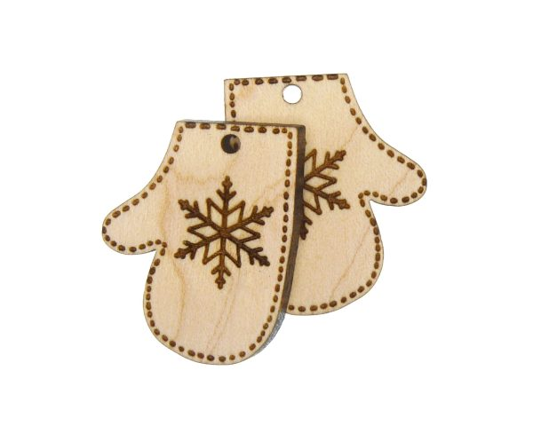 Winter Mittens Engraved Wood Drop Charms
