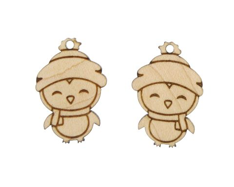 Winter Penguins Engraved Wood Drop Charms