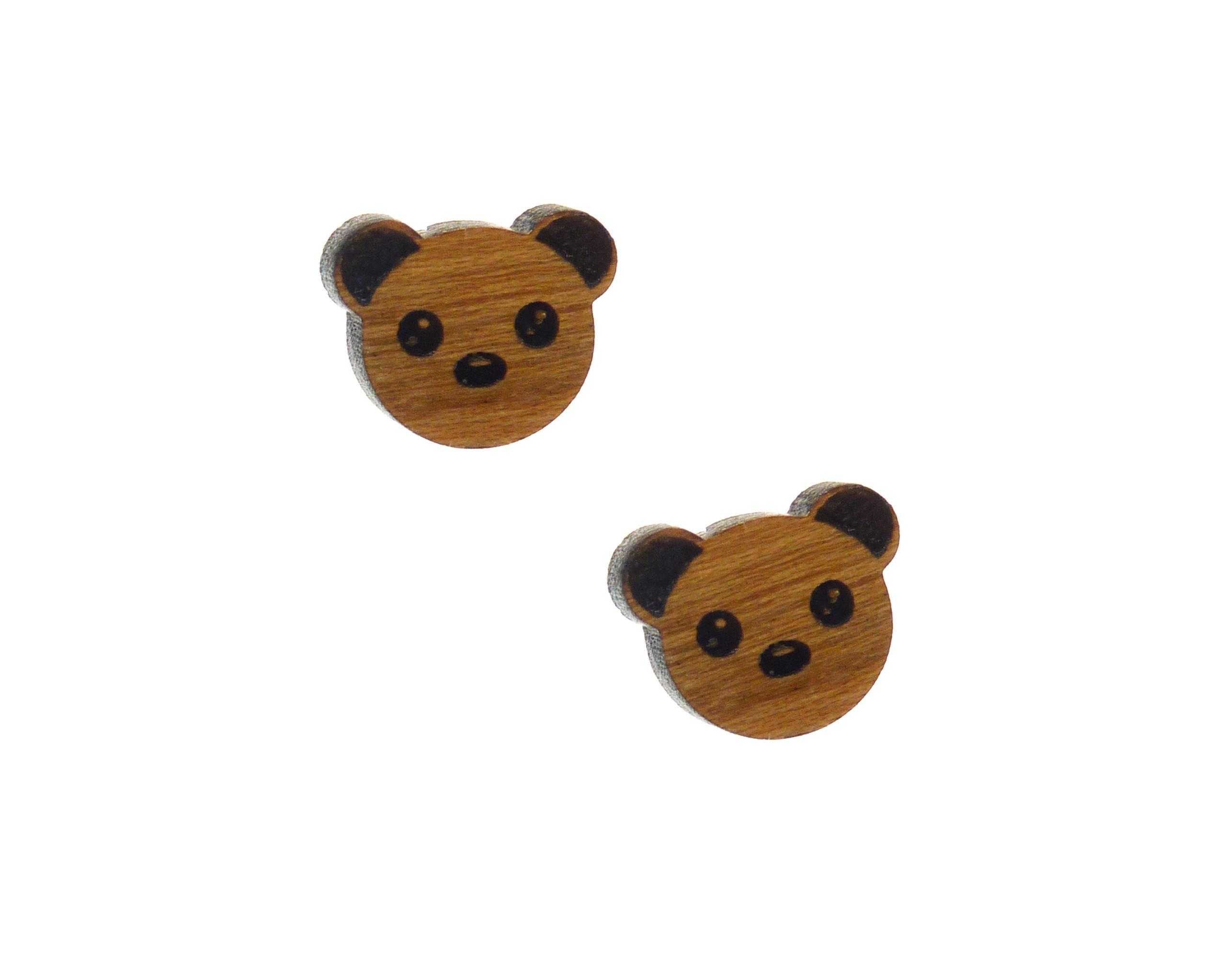 Woodland Bear Cherry Hardwood Stud Earrings