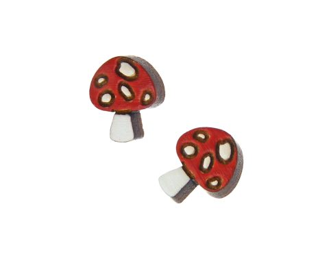 Mushrooms Maple Hardwood Stud Earrings | Choose Color | Hand Painted