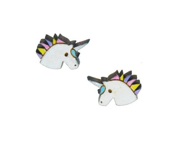Unicorns Maple Hardwood Stud Earrings | Hand Painted