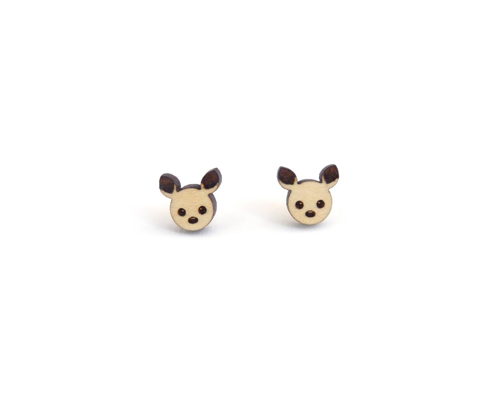 Woodland Deer Wood Stud Earrings - Choose Wood
