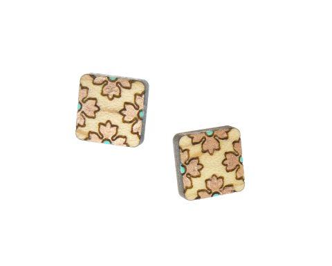 Flower Borders Wood Stud Earrings   Hand Painted