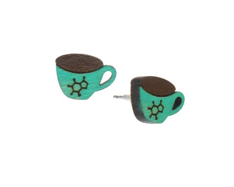Coffee with Caffeine Symbol Cup Small Wood Stud Earrings – Choose Color – Hand Painted