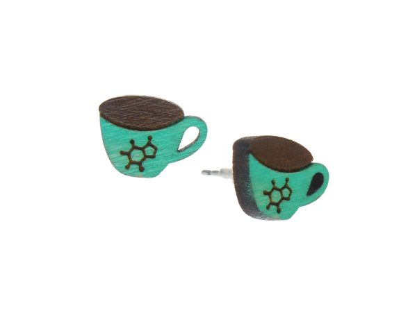 Coffee with Caffeine Symbol Cup Small Wood Stud Earrings - Choose Color - Hand Painted