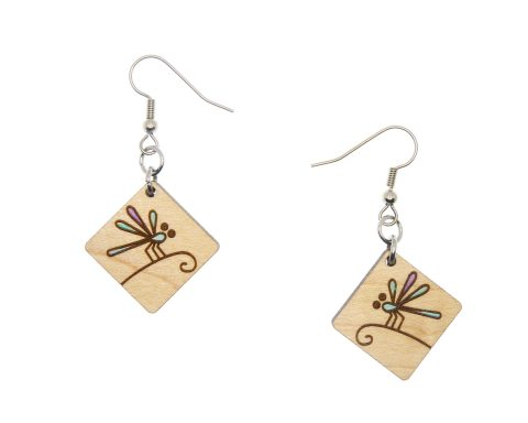 Dragonfly Maple Hardwood Earrings   Insect Earrings   Hand Painted