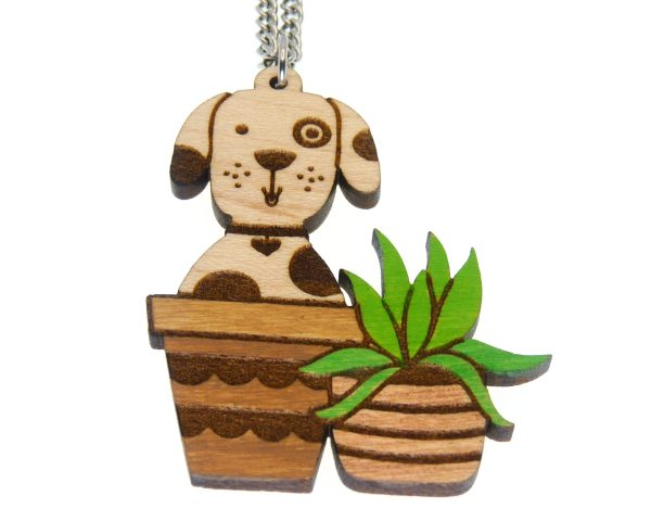 Dog in Pot with Plant Hand Painted Maple Hardwood Necklace