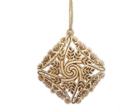 Art Nouveau Maple Wood Ornament