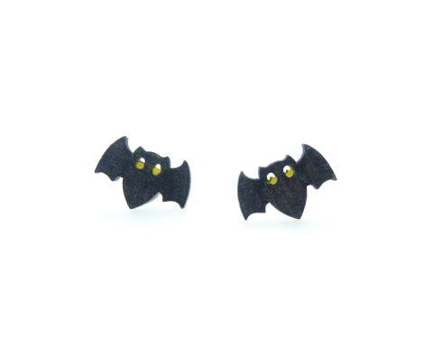Bats A01 Maple Hardwood Stud Earrings | Hand Painted
