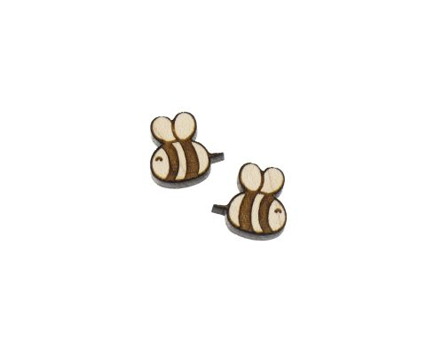 Bees A01 Engraved Wood Cabochons