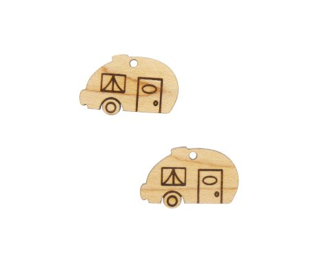 Camper Engraved Wood Drop Charms
