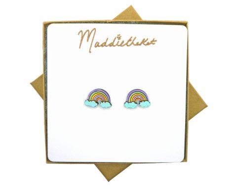 Rainbows Maple Wood Stud Earrings   Hand Painted
