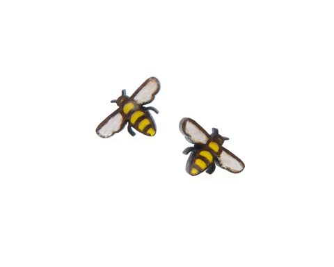 Tiny Bees Wood Stud Earrings   Hand Painted