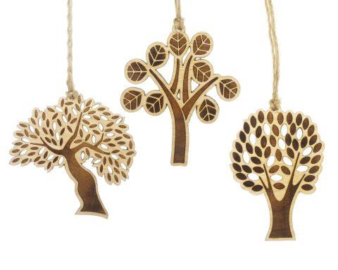 Trees Maple Wood Ornaments | Set of 3