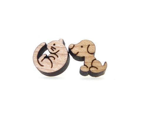 Cat & Dog Maple Hardwood Stud Earrings