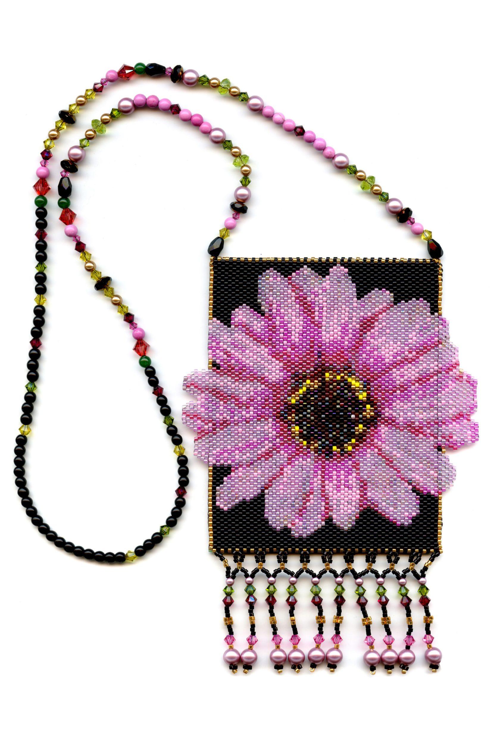Pink Flower Amulet Bag Beaded Necklace