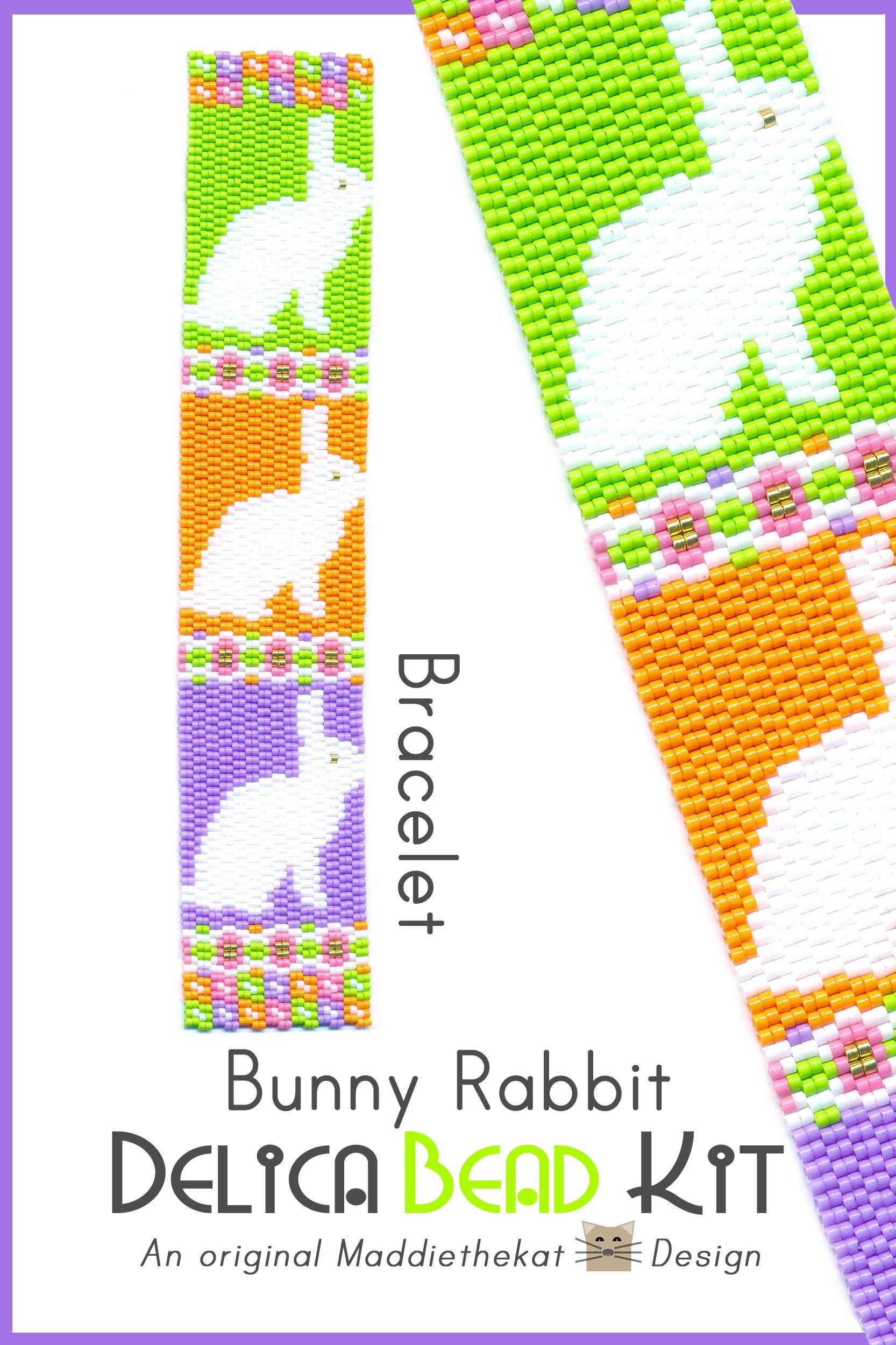 Bunny Rabbit Bracelet 2-Drop Peyote Seed Bead Pattern Delica DIY KIT-Maddiethekat Designs