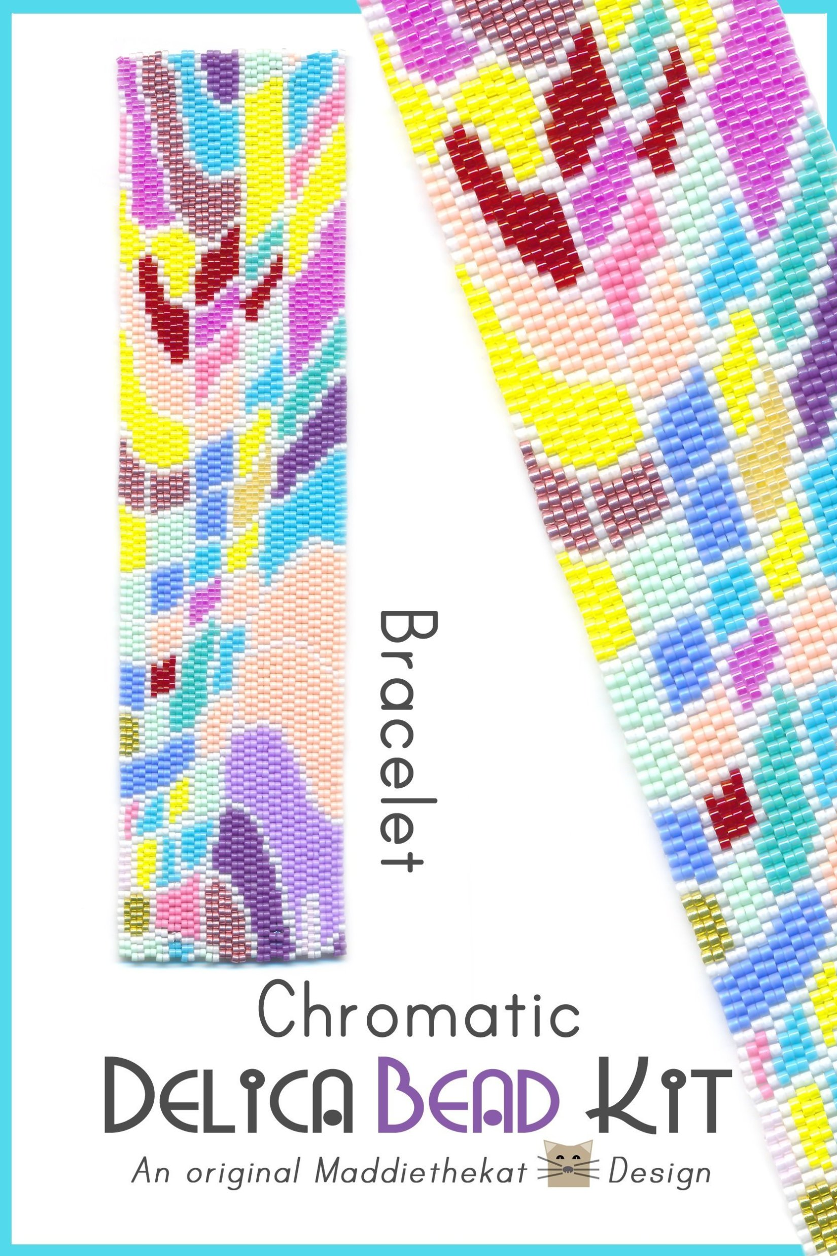 Chromatic Wide Cuff Bracelet 2-Drop Peyote Bead Pattern or Bead Kit
