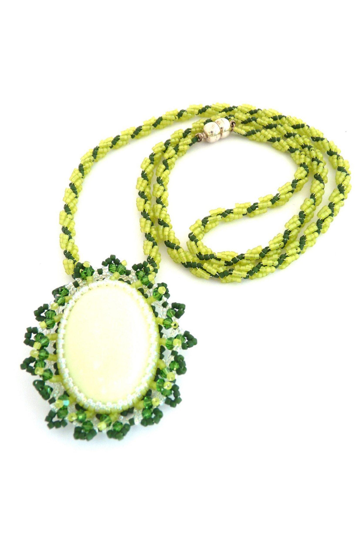 Chrysoprase Lemon & Green Cabochon Beaded Necklace