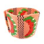 Juicy Watermelon Wide Cuff 2-Drop Peyote Seed Beaded Bracelet Fruit-Maddiethekat Designs