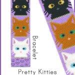 Pretty Kitties Bracelet Peyote Bead Pattern or Bead KIT