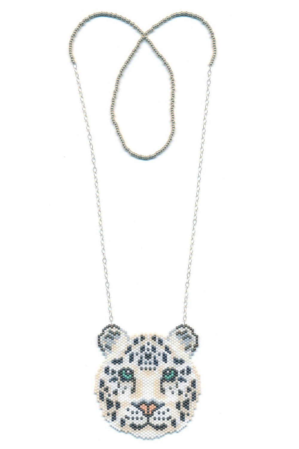 Snow Leopard Beaded Necklace