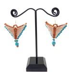 Persimmon Mocha Blue Taking Flight Beaded Earrings