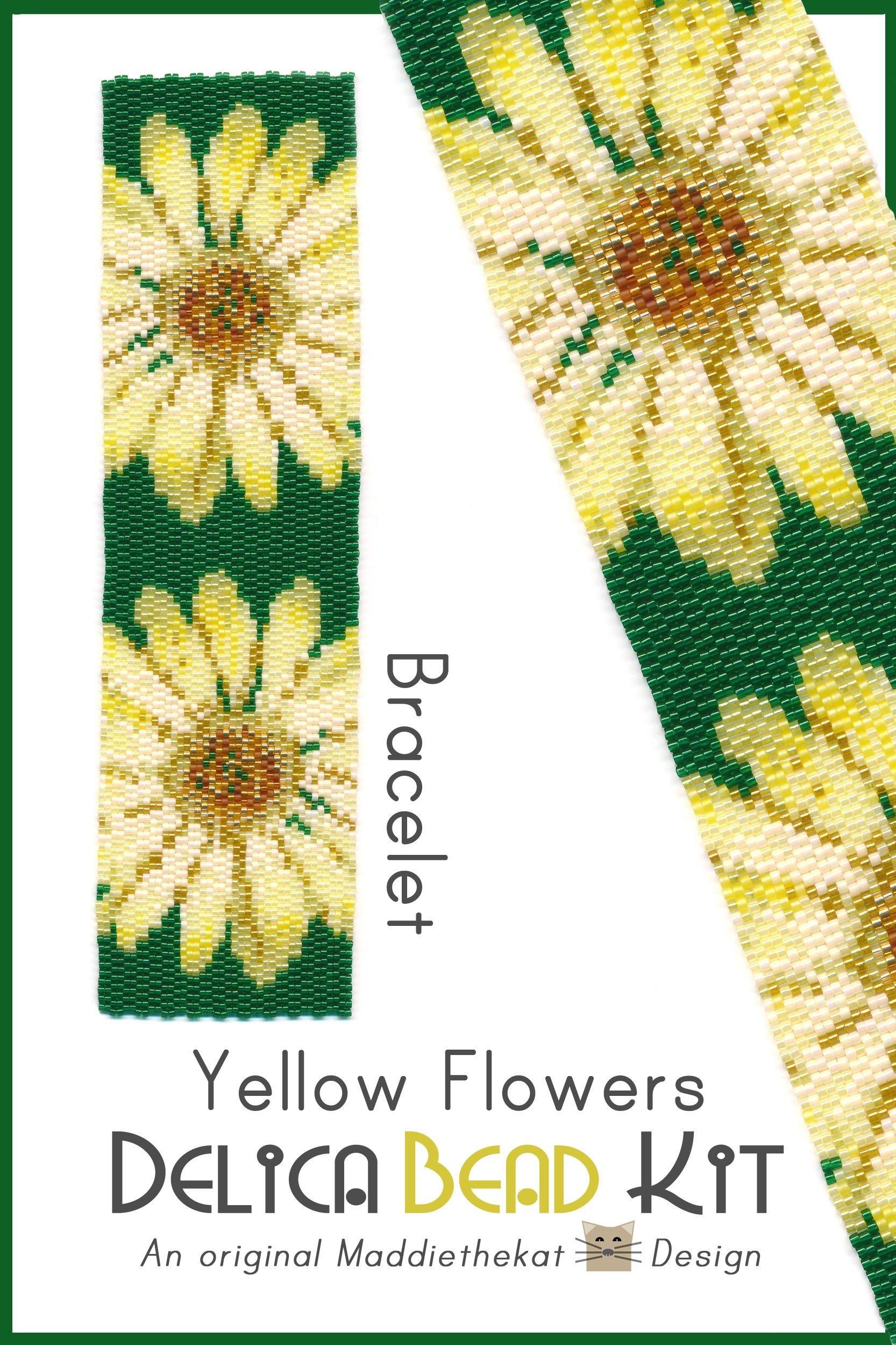 Yellow Flowers Wide Cuff Bracelet 2-Drop Peyote Bead Pattern or Bead Kit