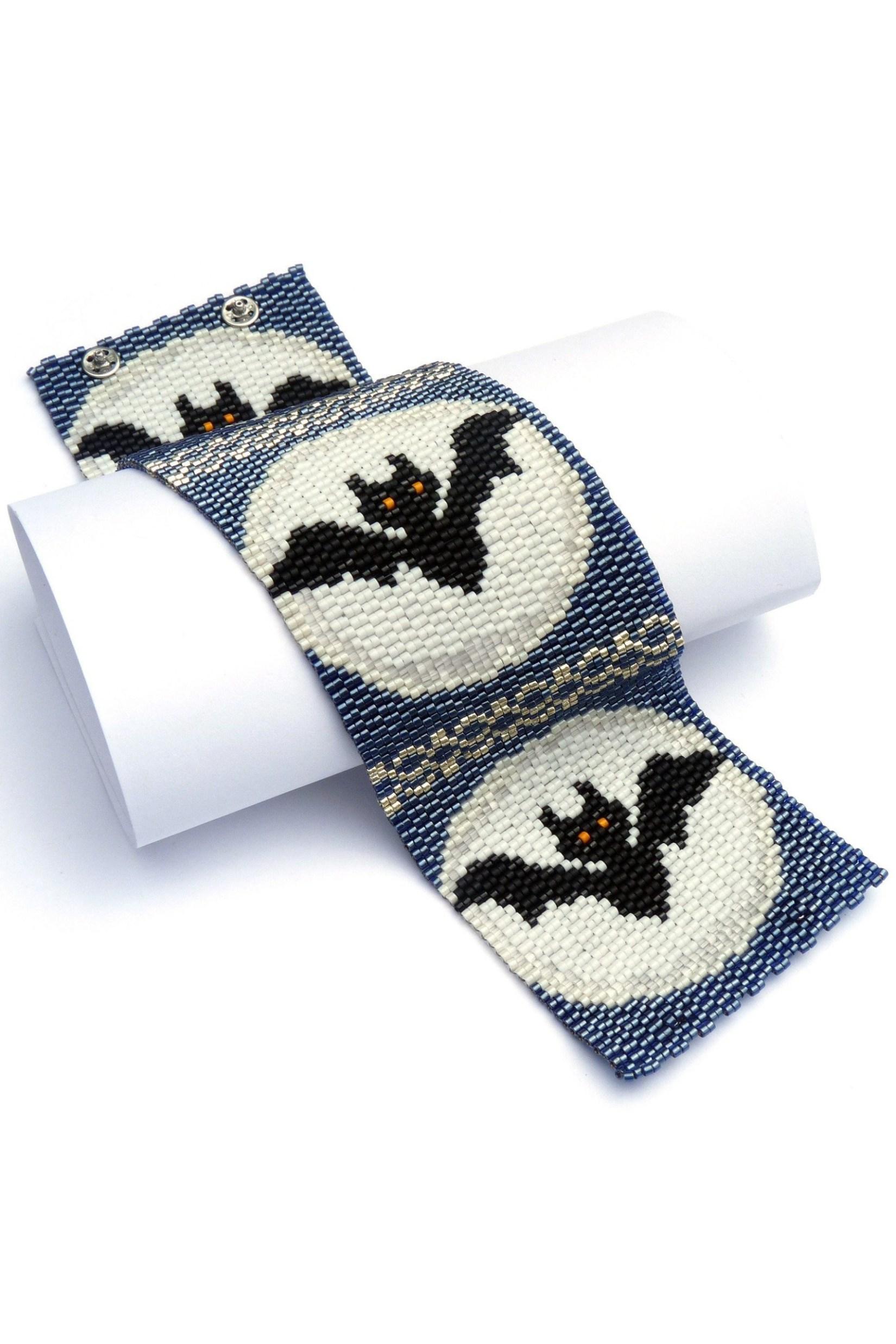 Moon Bats Wide Cuff Beaded Bracelet