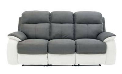 Canapé relax 3 places blanc et gris