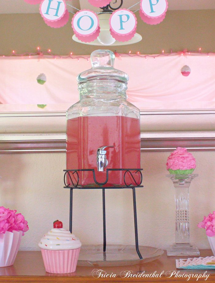 sparkling pink punch party recipe served at a cupcake party