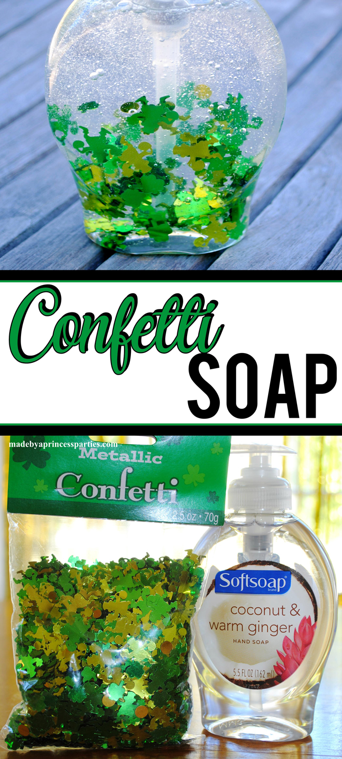 DIY Confetti Soap all you need is a package of confetti and bottle of soap from the dollar store