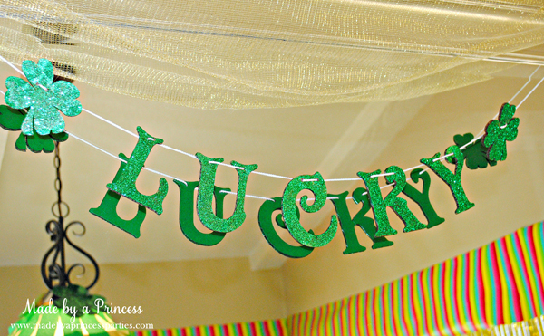 Kids St Patricks Day Party Ideas glitter LUCKY banner