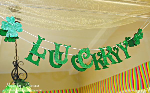 Kids St Patricks Day Party Ideas glitter LUCKY banner