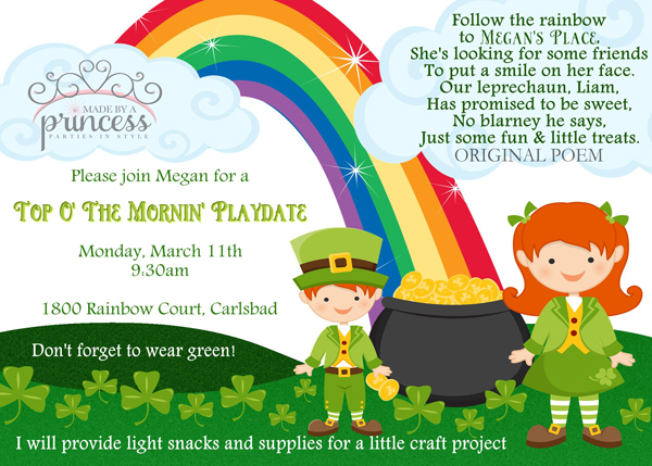 Kids St Patricks Day Party Ideas invitation