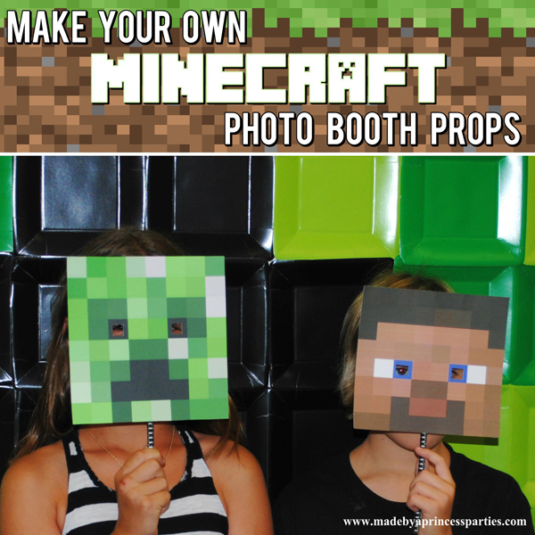 Make Your Own Minecraft Photo Booth Props with a matching Creeper background
