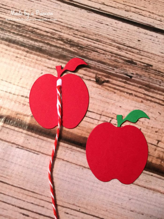 sizzix pencil bookmark apples with string