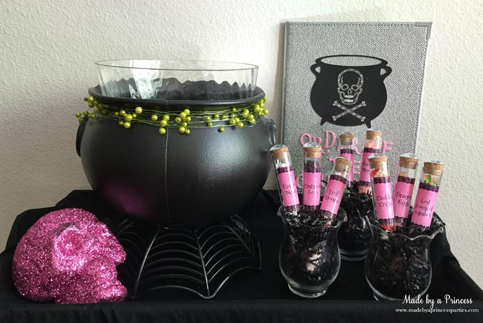 witch tea party cauldron table