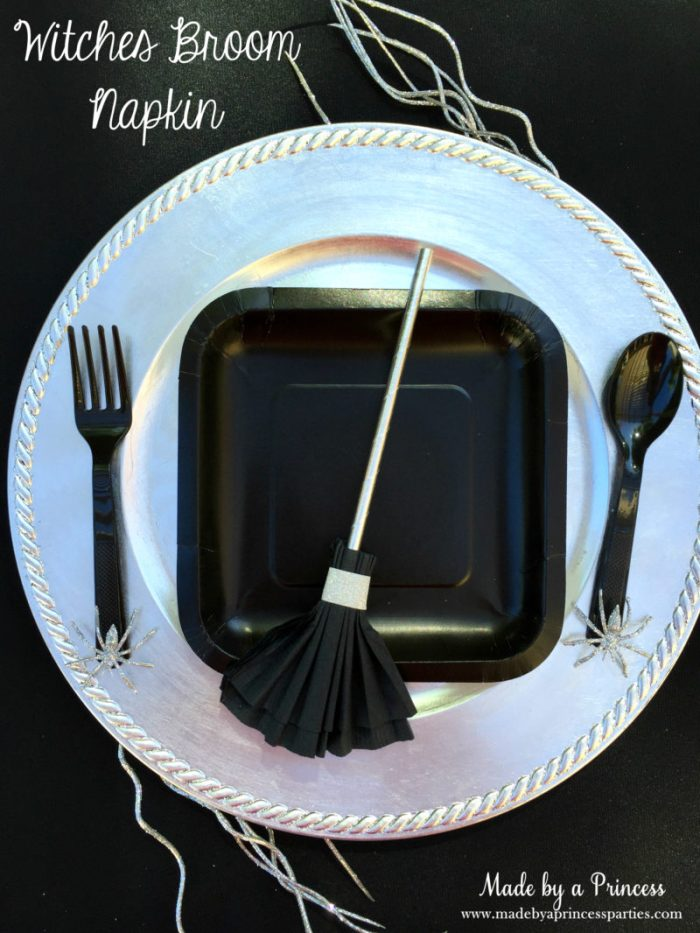 witches broom napkin place setting