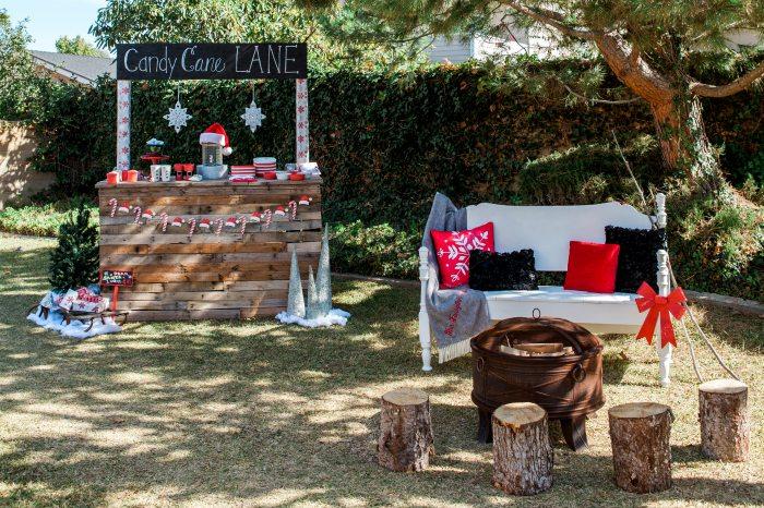 candy cane lane christmas party backyard set up