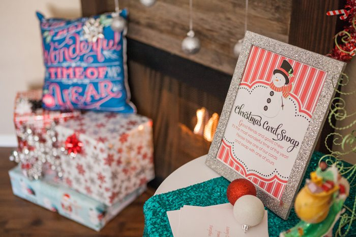 candy cane lane christmas party card swap sign