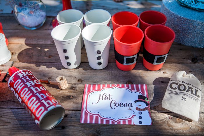 candy cane lane christmas party cocoa set up