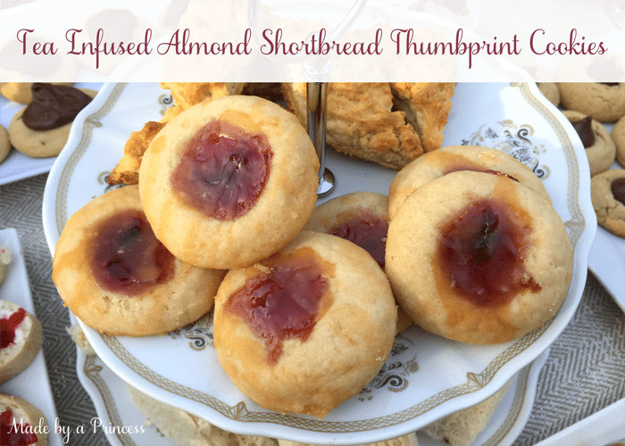 Tea Infused Almond Shortbread Thumbprint Cookies