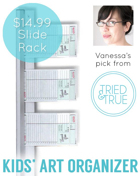 Use a Slide Check Rack to organize your kids' artwork!