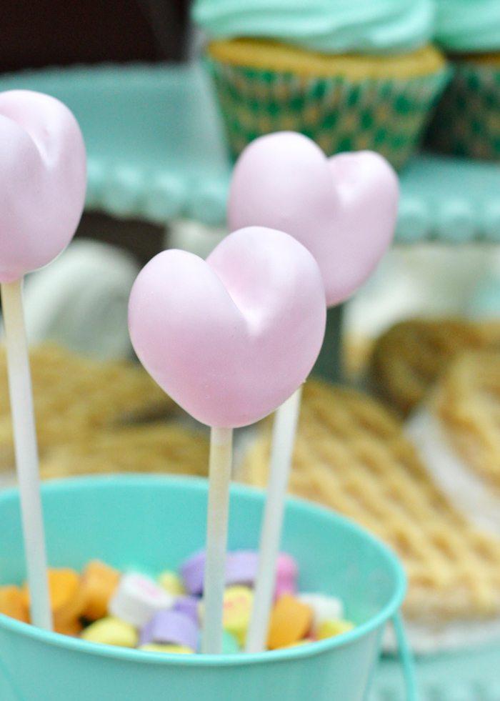 Valentines Day Garden Party heart cake pops