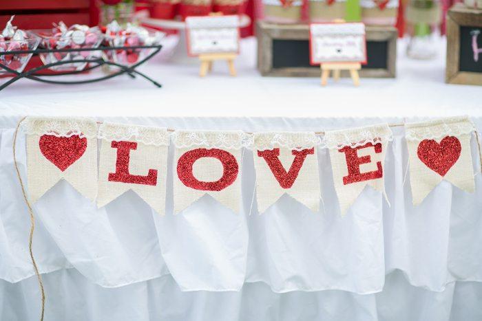 celebrate happy hearts day glitter love banner