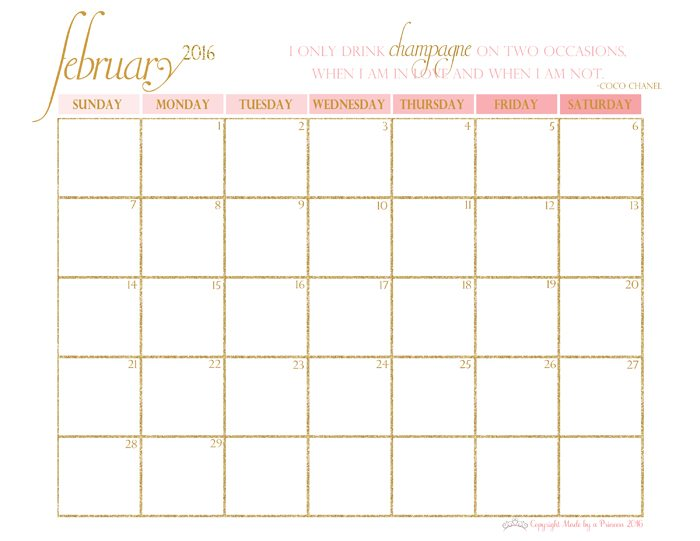 made by a princess free printable calendar 2016 february